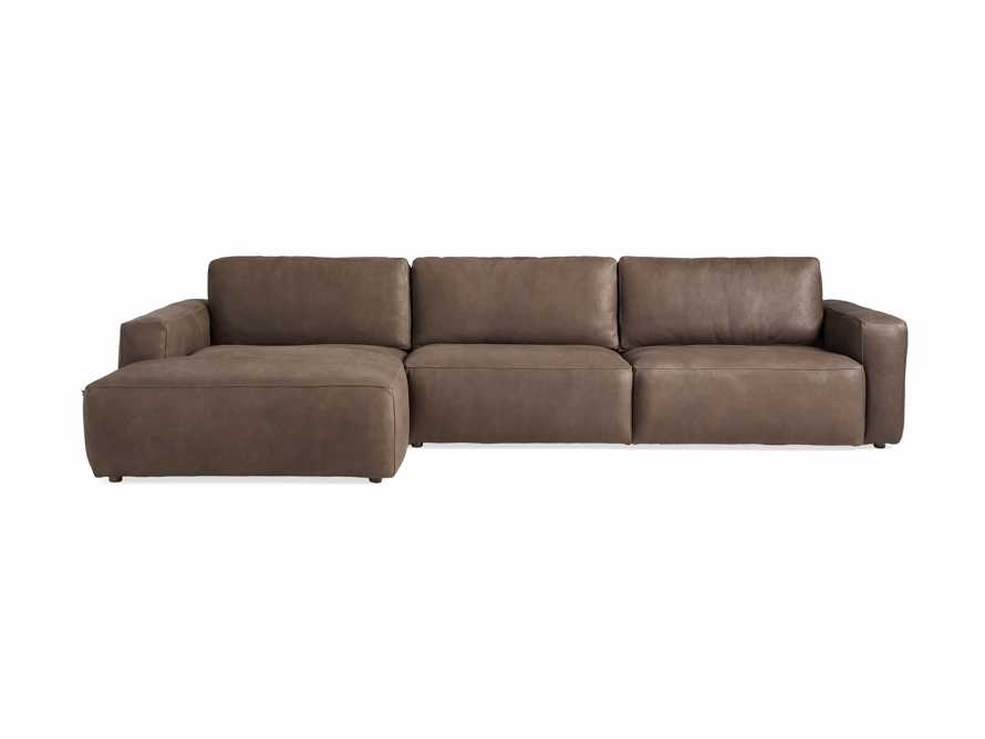 Innsbruck Leather Two Piece Left Arm Chaise Sectional in Burnham Chocolate, slide 3 of 5