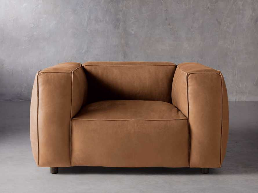 """Madrone Leather 49"""" Chair in Burnham Camel, slide 1 of 8"""