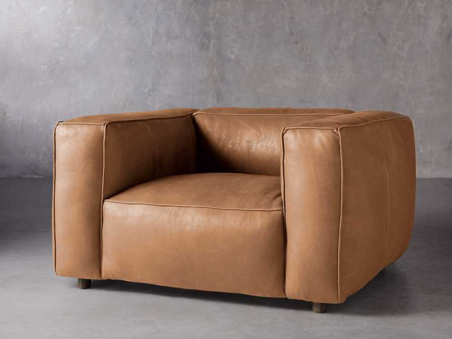 """Madrone Leather 49"""" Chair in Burnham Camel, slide 2 of 8"""