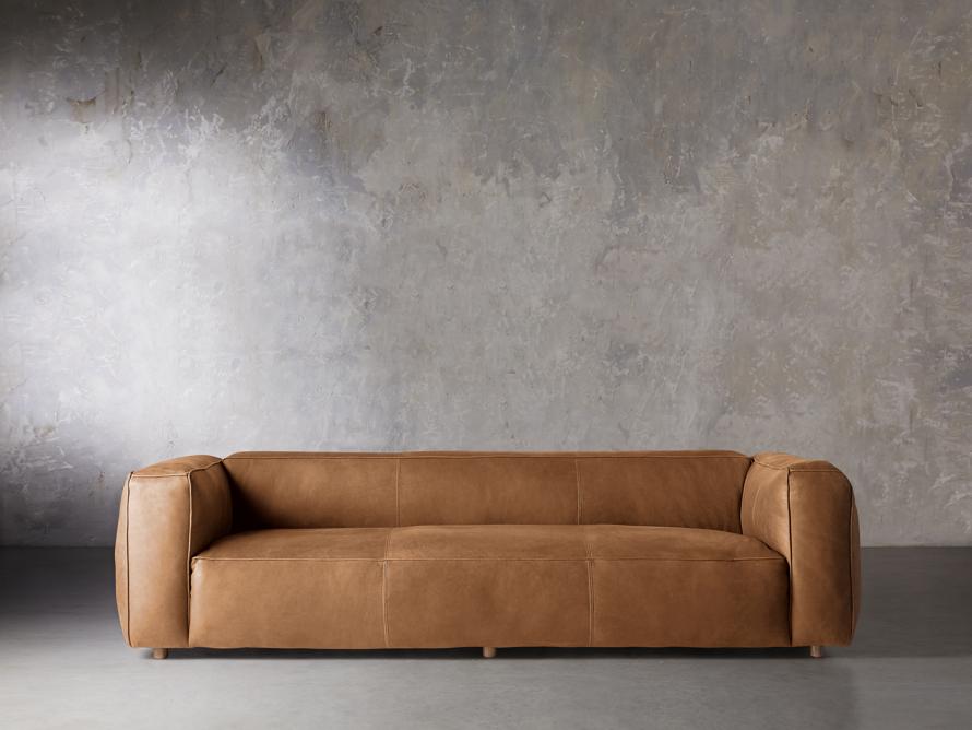 "Madrone Leather 100"" Sofa in Burnham Camel, slide 1 of 8"