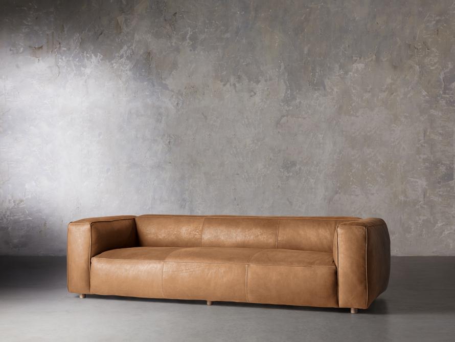 "Madrone Leather 100"" Sofa in Burnham Camel, slide 2 of 8"