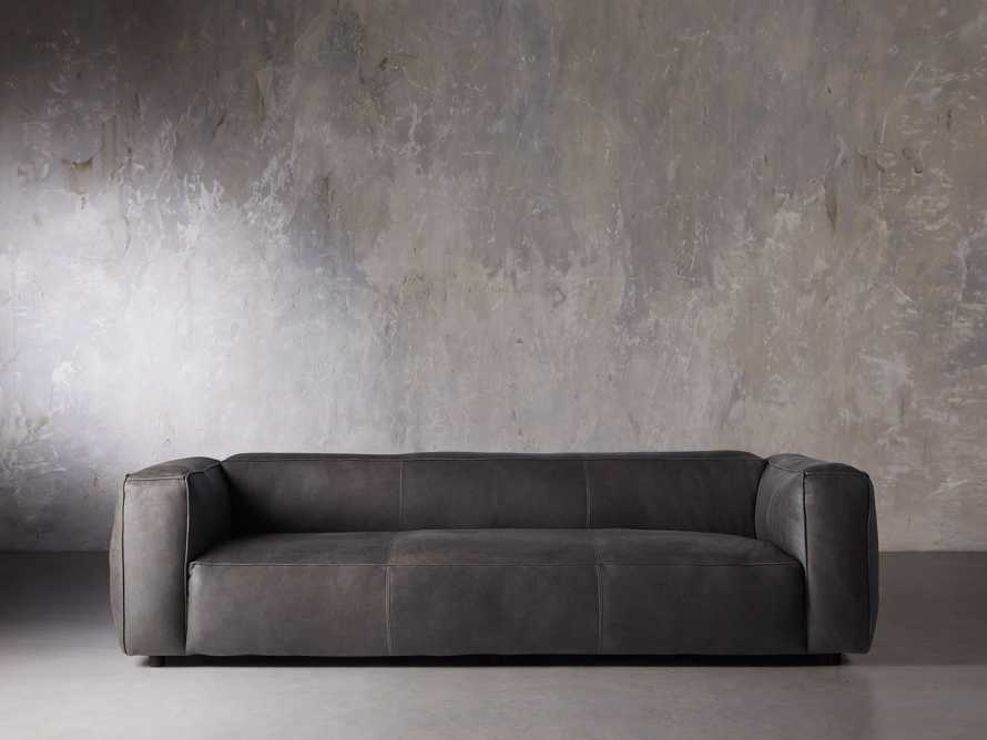 "Madrone Leather 100"" Sofa in Burnham Graphite, slide 2 of 11"