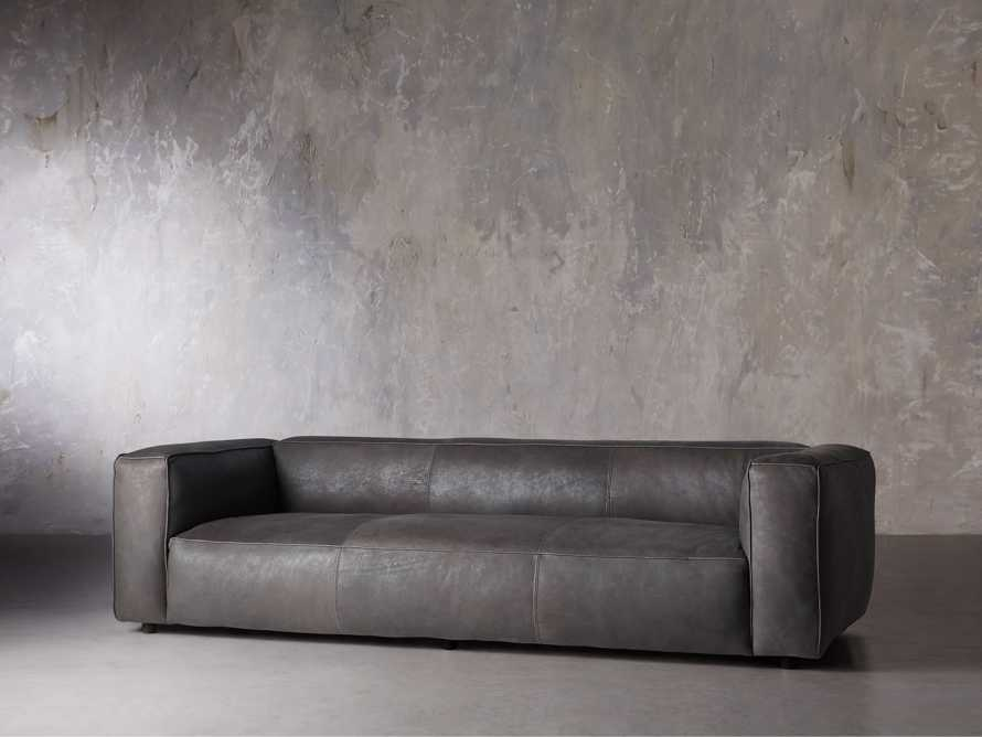 "Madrone Leather 100"" Sofa in Burnham Graphite, slide 3 of 11"