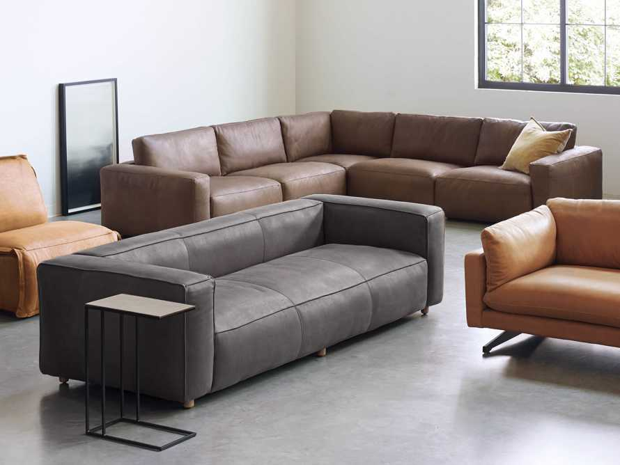 "Madrone Leather 100"" Sofa in Burnham Graphite, slide 9 of 11"
