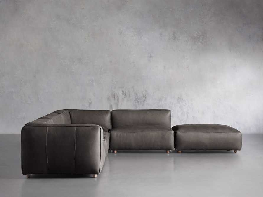 Madrone Leather Five Piece Left Arm Sectional with Ottoman in Burnham Graphite, slide 1 of 6