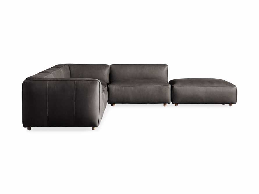 Madrone Leather Five Piece Left Arm Sectional with Ottoman in Burnham Graphite, slide 6 of 6