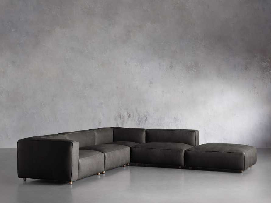 Madrone Leather Five Piece Left Arm Sectional with Ottoman in Burnham Graphite, slide 2 of 6