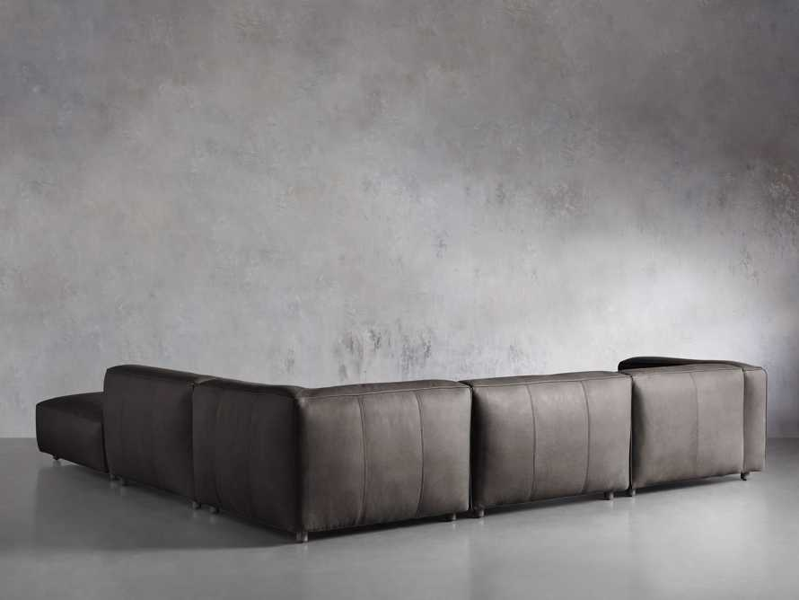 Madrone Leather Five Piece Left Arm Sectional with Ottoman in Burnham Graphite, slide 3 of 6