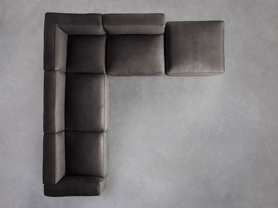 Madrone Leather Five Piece Left Arm Sectional with Ottoman in Burnham Graphite, slide 4 of 6