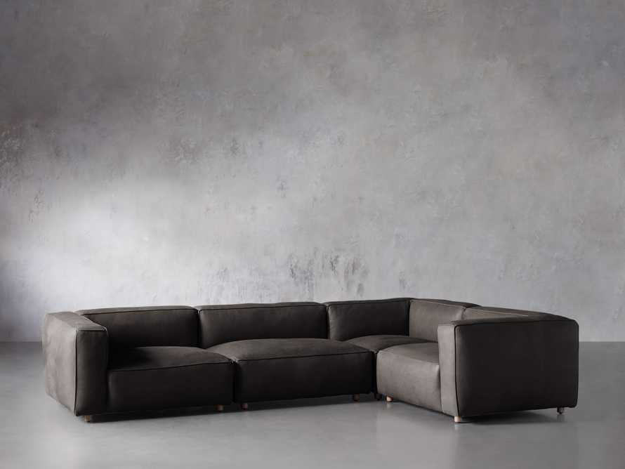 Madrone Leather Four Piece Left Arm Sectional in Burnham Graphite, slide 2 of 6