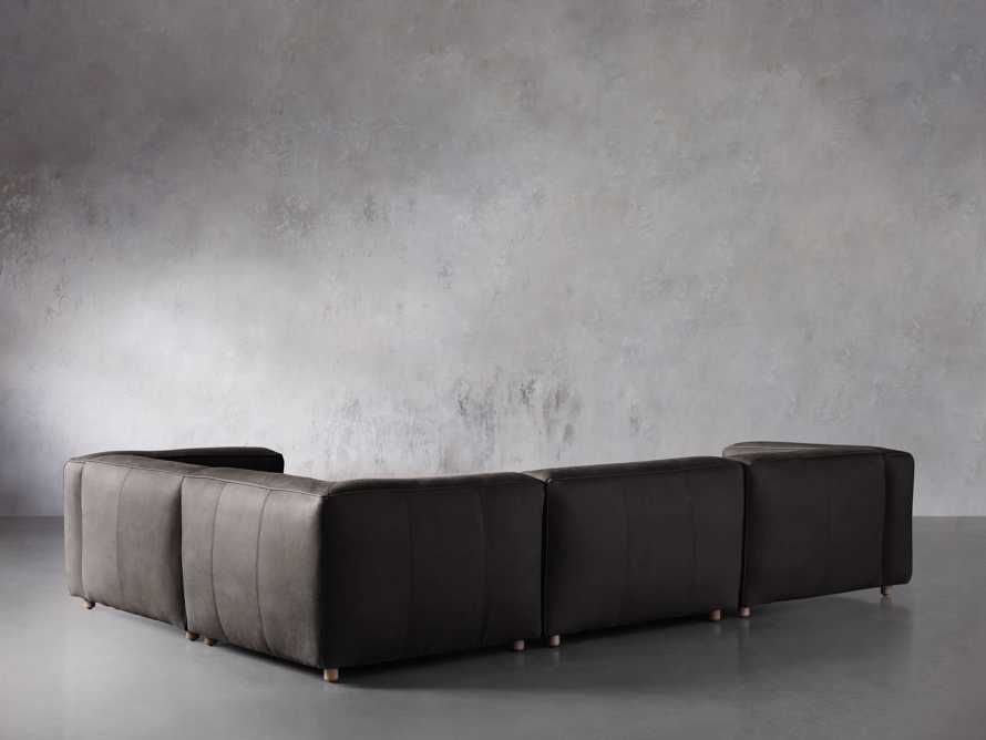 Madrone Leather Four Piece Left Arm Sectional in Burnham Graphite, slide 3 of 6