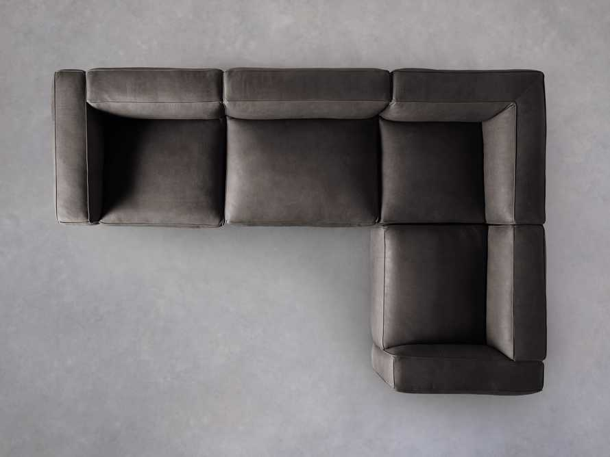 Madrone Leather Four Piece Left Arm Sectional in Burnham Graphite, slide 4 of 6