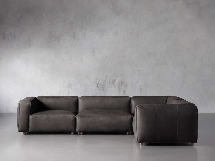 Madrone Leather Four Piece Left Arm Sectional in Burnham Graphite, slide 1 of 6