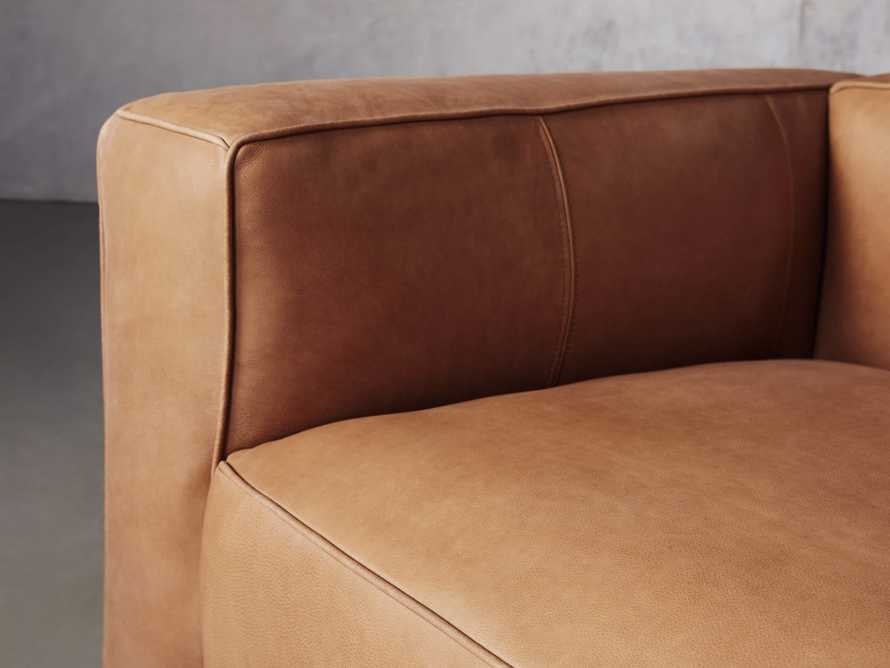Madrone Leather Five Piece Left Arm Sectional with Ottoman in Burnham Camel, slide 5 of 6