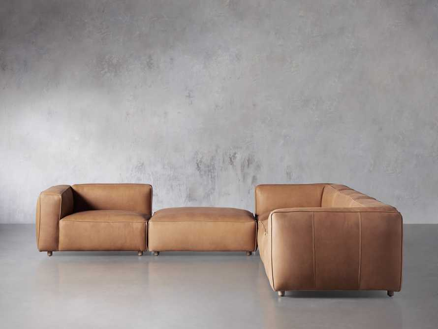 Madrone Leather Five Piece Left Arm Sectional with Ottoman in Burnham Camel, slide 1 of 6