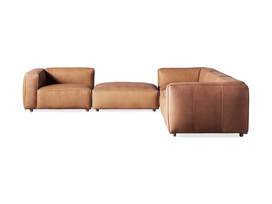 Madrone Leather Five Piece Left Arm Sectional with Ottoman in Burnham Camel, slide 6 of 6