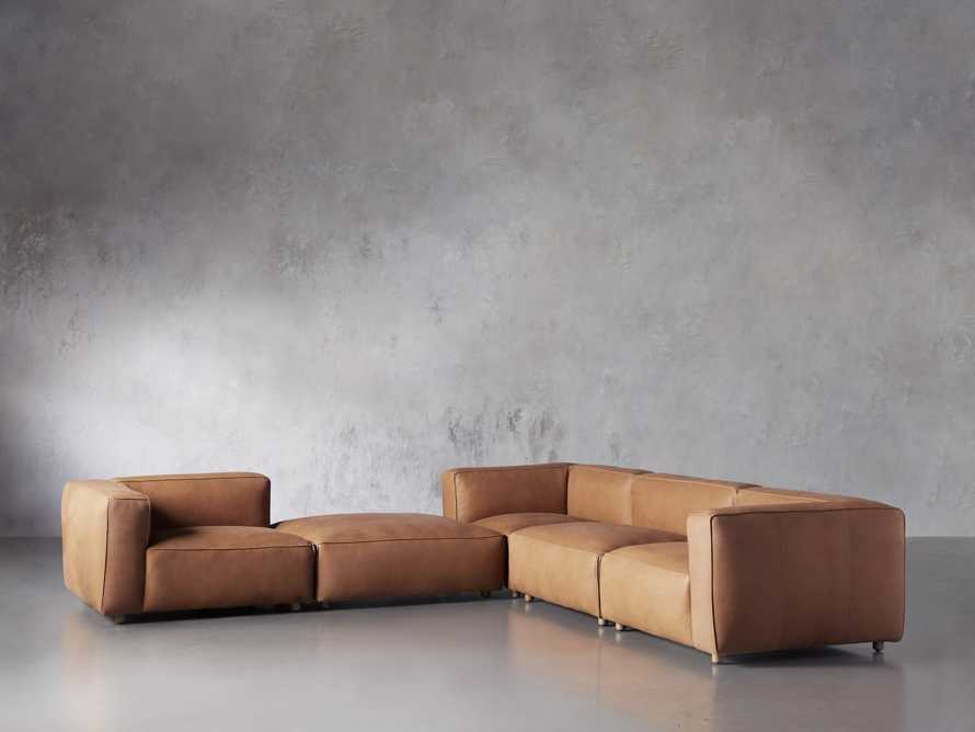 Madrone Leather Five Piece Left Arm Sectional with Ottoman in Burnham Camel, slide 2 of 6