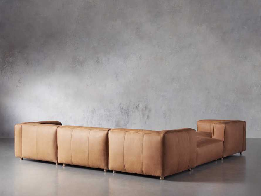 Madrone Leather Five Piece Left Arm Sectional with Ottoman in Burnham Camel, slide 3 of 6