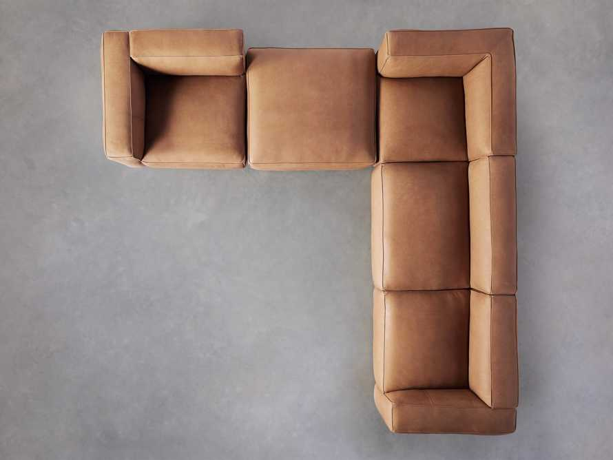 Madrone Leather Five Piece Left Arm Sectional with Ottoman in Burnham Camel, slide 4 of 6