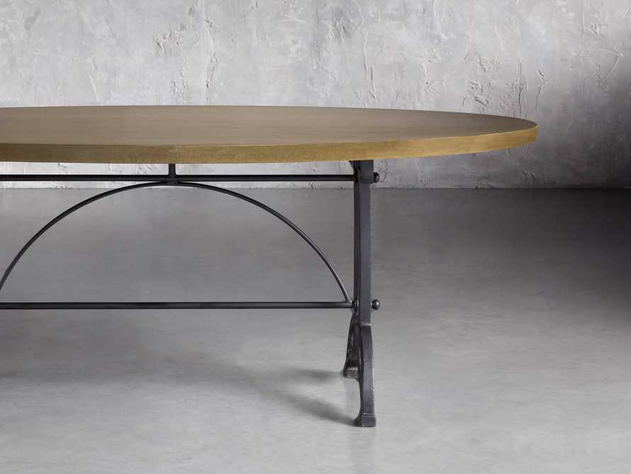 "Brass Aluminum 90"" x 52"" Dining Table with Chantel Base, slide 1 of 6"