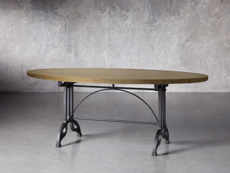 "Brass Aluminum 90"" x 52"" Dining Table with Chantel Base, slide 3 of 6"