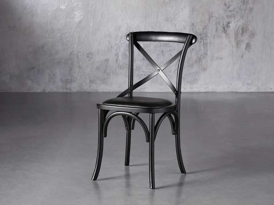"Cadence 20"" Dining Side Chair with Faux Black Leather Seat in Solid Black, slide 2 of 8"