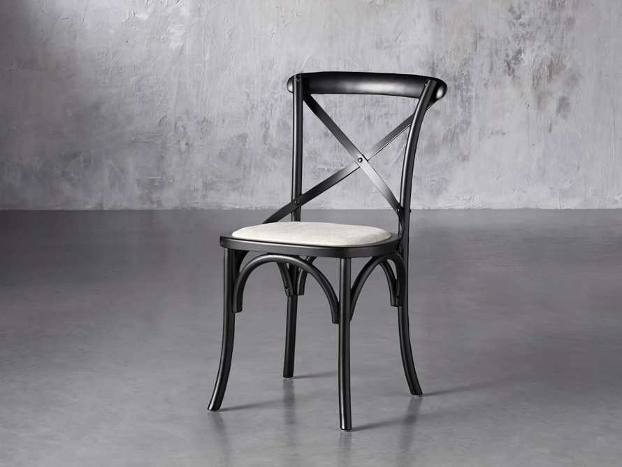 "Cadence 20"" Dining Side Chair with Linen Seat in Solid Black, slide 2 of 8"