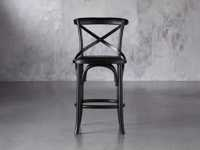 "Cadence 20"" Counter Stool with Faux Black Leather Seat in Solid Black"
