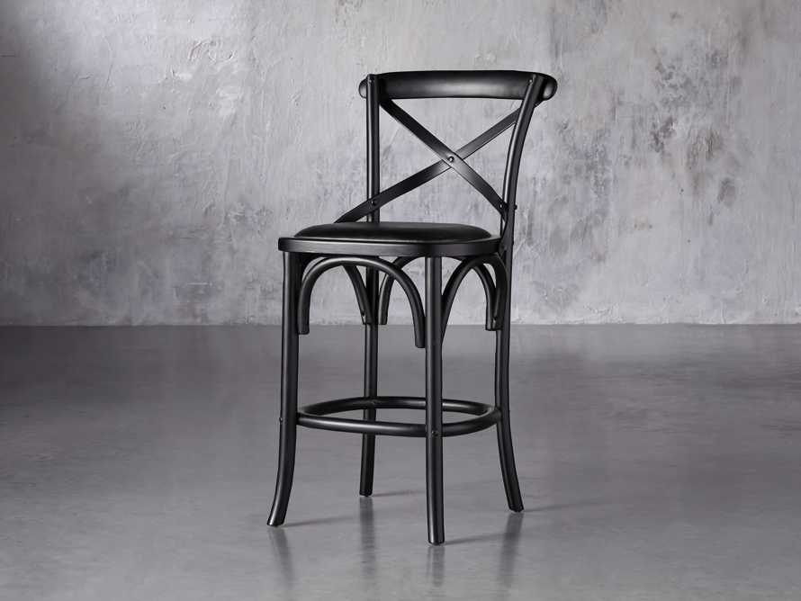 "Cadence 20"" Counter Stool with Faux Black Leather Seat in Solid Black, slide 2 of 8"