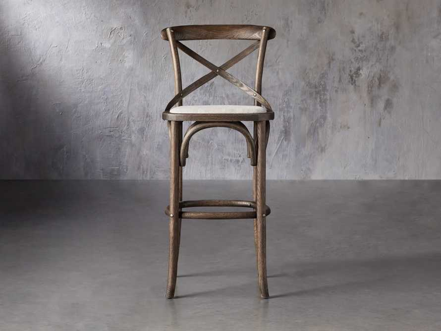 Cadence Barstool with Linen Seat in Dark Brown, slide 1 of 6