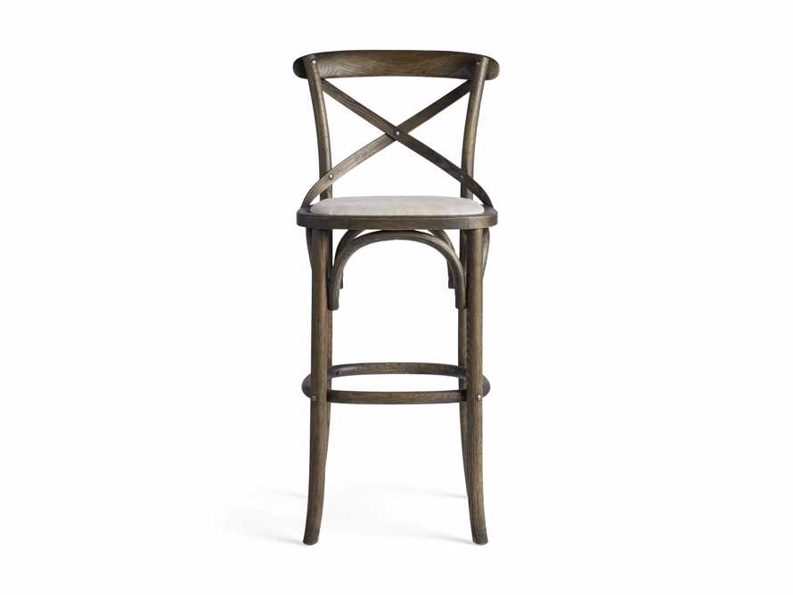 Cadence Barstool with Linen Seat in Dark Brown, slide 5 of 6