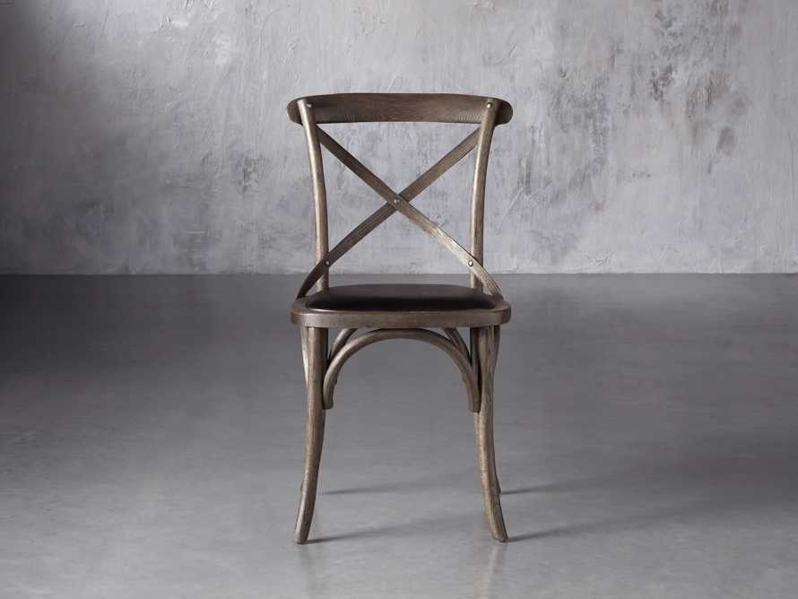 Cadence Dining Side Chair with Faux Black Leather Seat in Dark Brown, slide 1 of 8
