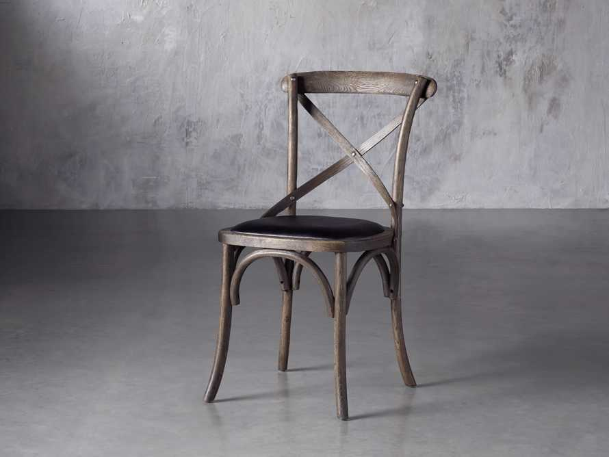 Cadence Dining Side Chair with Faux Black Leather Seat in Dark Brown, slide 2 of 8