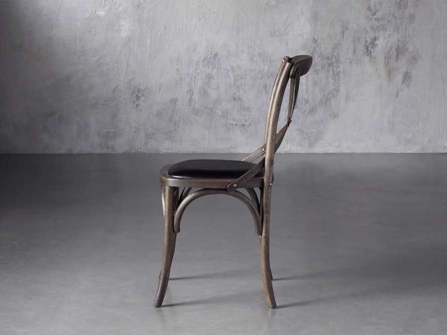 Cadence Dining Side Chair with Faux Black Leather Seat in Dark Brown, slide 3 of 8