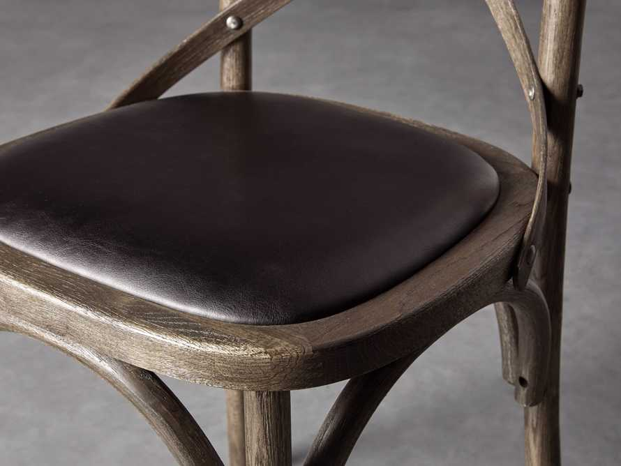 Cadence Dining Side Chair with Faux Black Leather Seat in Dark Brown, slide 6 of 8