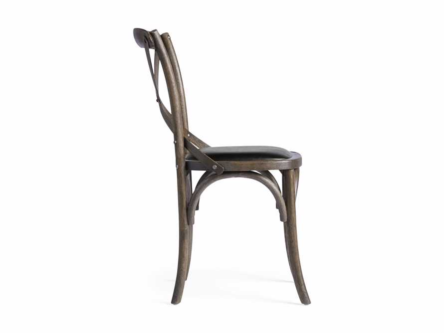 Cadence Dining Side Chair with Faux Black Leather Seat in Dark Brown, slide 8 of 8
