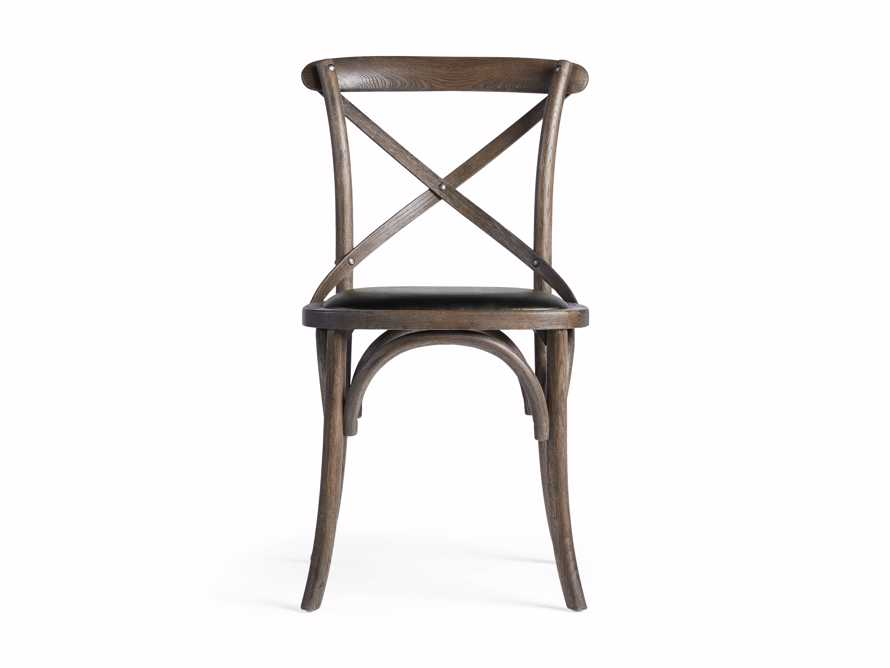 Cadence Dining Side Chair with Faux Black Leather Seat in Dark Brown, slide 7 of 8