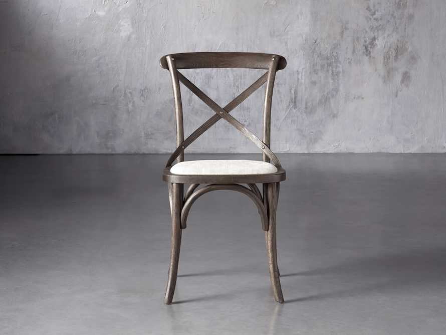 Cadence Dining Side Chair with Linen Seat in Dark Brown, slide 1 of 8