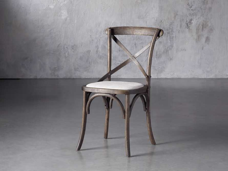 Cadence Dining Side Chair with Linen Seat in Dark Brown, slide 2 of 8