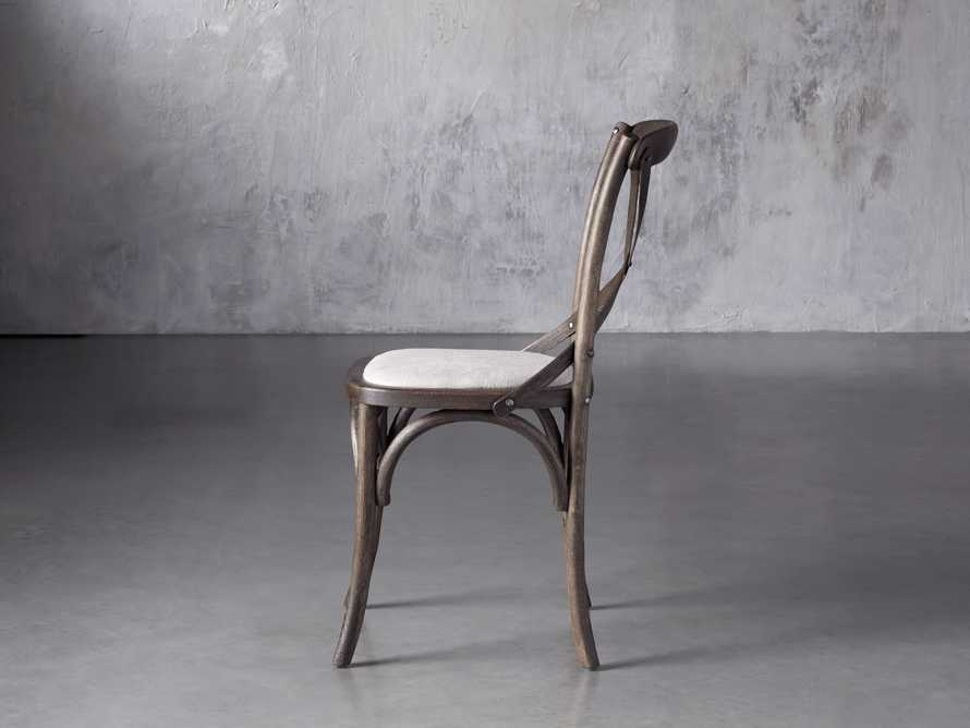 Cadence Dining Side Chair with Linen Seat in Dark Brown, slide 3 of 8