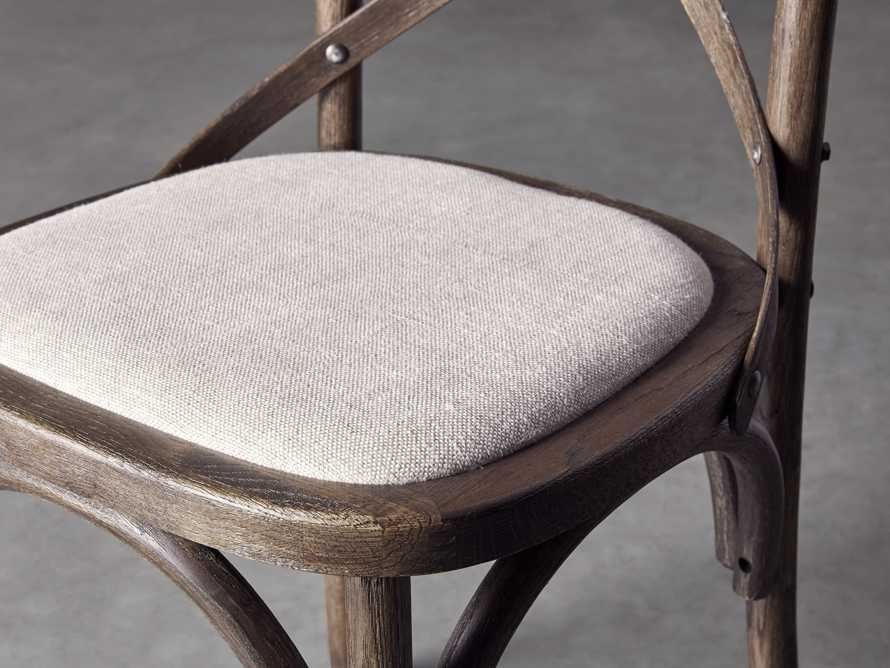 Cadence Dining Side Chair with Linen Seat in Dark Brown, slide 6 of 8