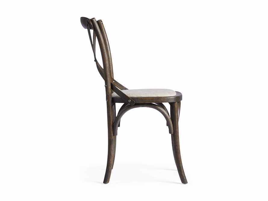 Cadence Dining Side Chair with Linen Seat in Dark Brown, slide 8 of 8