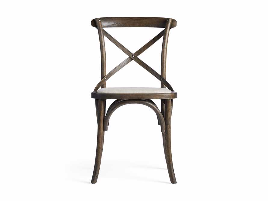Cadence Dining Side Chair with Linen Seat in Dark Brown, slide 7 of 8