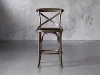 Cadence Counter Stool with Faux Black Leather Seat in Dark Brown