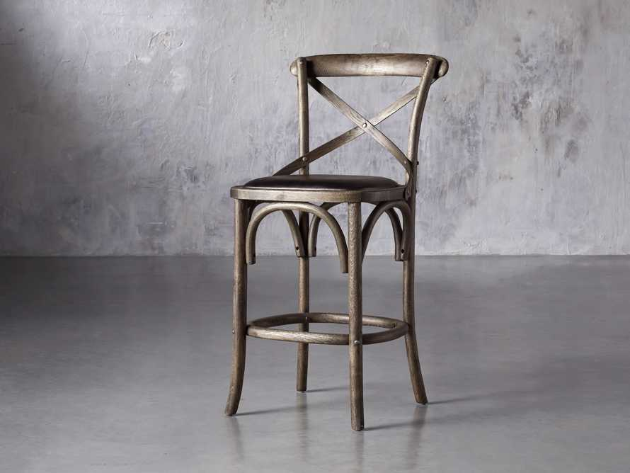 Cadence Counter Stool with Faux Black Leather Seat in Dark Brown, slide 2 of 8