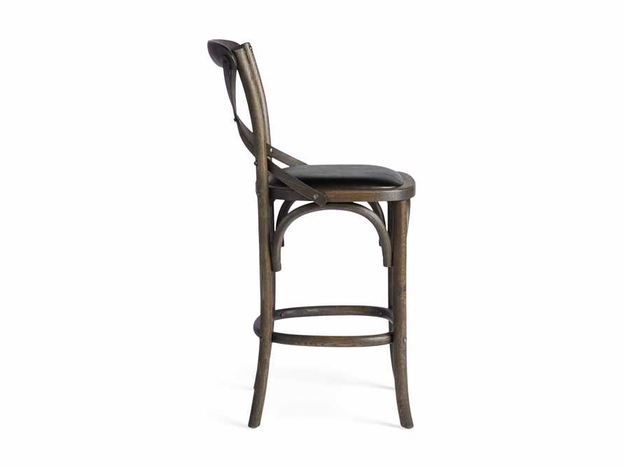 Cadence Counter Stool with Faux Black Leather Seat in Dark Brown, slide 8 of 8