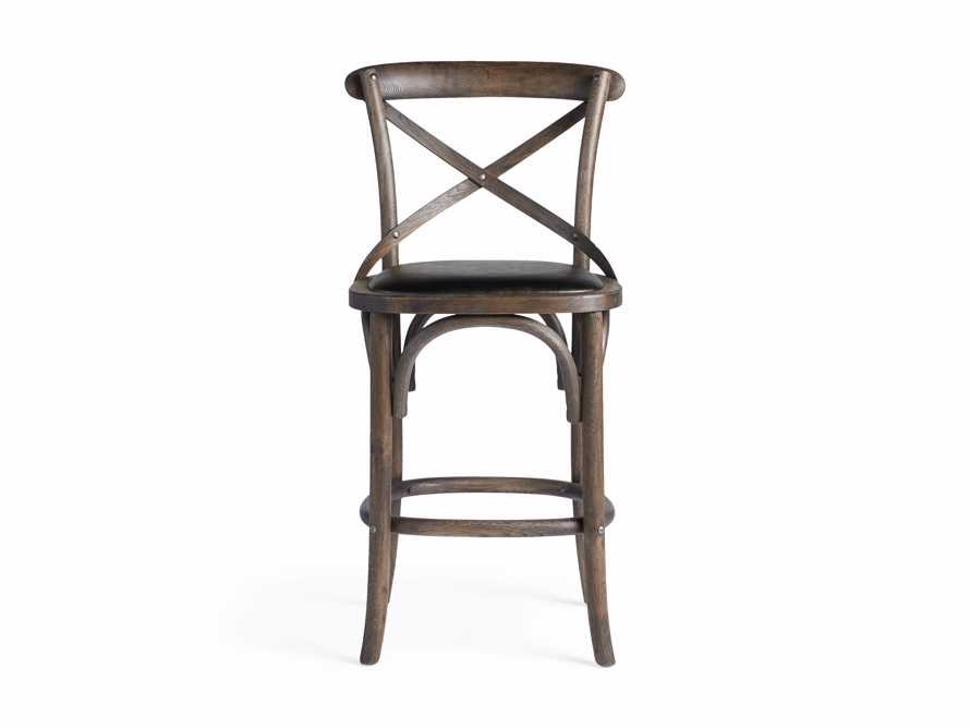Cadence Counter Stool with Faux Black Leather Seat in Dark Brown, slide 7 of 8