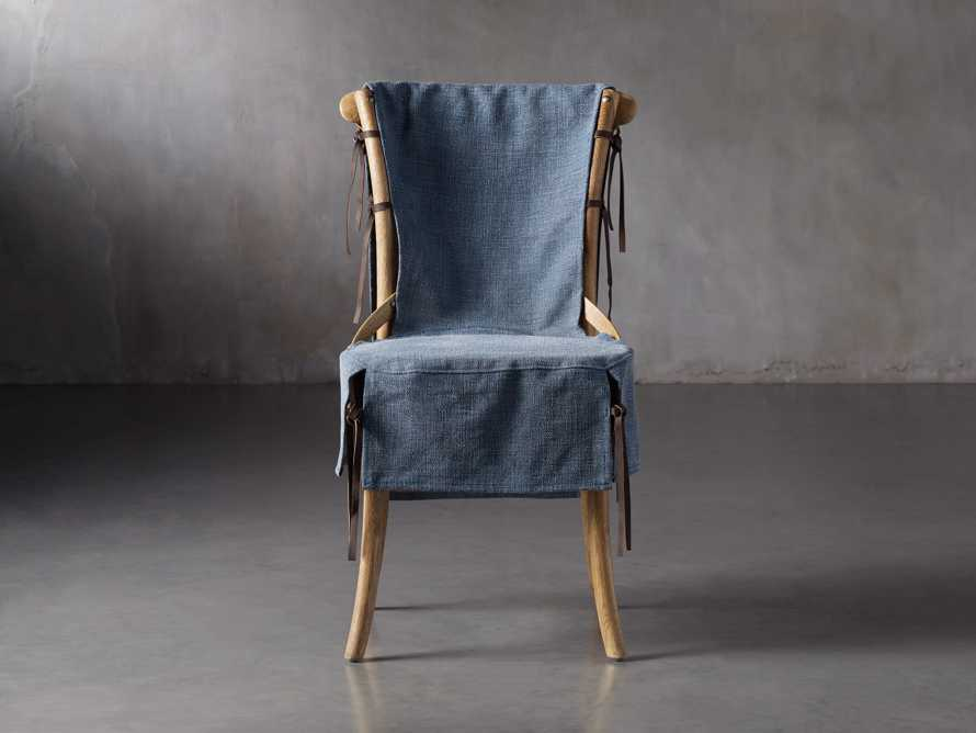 Cadence Dining Chair Slipcover in Indigo Linen, slide 1 of 9