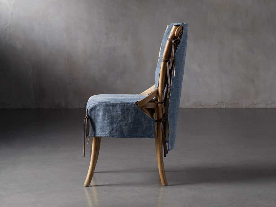 Cadence Dining Chair Slipcover in Indigo Linen, slide 3 of 9