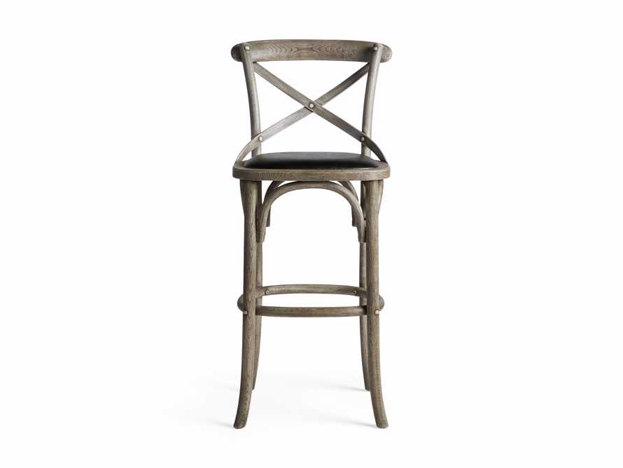 """Cadence 20"""" Barstool with Faux Black Leather Seat in Stone Vintage"""